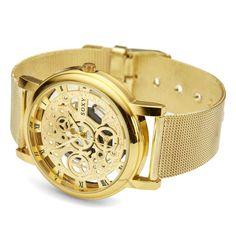 Goudkleurig Clarity Horloge | Gratis verzending | Fort Tempus Skeleton, Clarity, Maine, Watches, Metal, Accessories, Wristwatches, Skeletons, Clocks