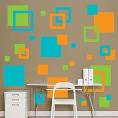 love these colors for the kids bathroom light brown wall with these accent colors: Orange, Green & Turquoise Room Wall Painting, Room Paint, Orange Walls, Brown Walls, Wall Paint Patterns, Bedroom Wall Designs, Custom Wall Decals, Kids Decor, Home Decor