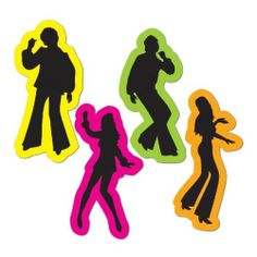 **4 FUNKY RETRO 70'S SILHOUETTES DECORATIONS**DISCO*SATURDAY NIGHT FEVER*PARTY**