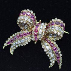 Antique Georgian Victorian Sevigne Brooch Pendant 18k Gold Diamond Ruby (#6116) #bowbrooch