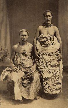 "Portrait of two men,Mata'afa IOSEFA (sitting,1832-1912)  and his ""Tulafale"" Talking Chief.  c. 1880s or 1890s"