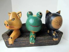 Carved Wood Animals Seated on Sofa Cute Colorful Folk Art Pig Frog Cat | eBay
