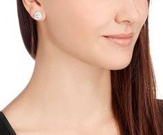 LOVE. Begin Stud Pierced Earrings, White, Palladium plating from #Swarovski