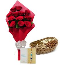 Check out our New Product  Best wishes for you No Flower COD 12 Red Roses in red color paper packing with white ribbon and 250gm mixed dryfruits in a cane basket and Rakhi with roli chawal.  ₹1,149