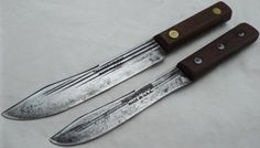 Carbon Steel blades RAZOR SHARP Hammer Forged USA vintage 2 Butcher Knives LOT  #hammerforgedusa