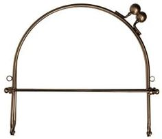 8″ Half Round Purse Handle/Frame  With loops, snap closure in bronze.