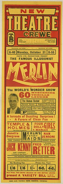 New Theatre Crewe : Fanto Ltd. Productions present the famous illusionist Merlin