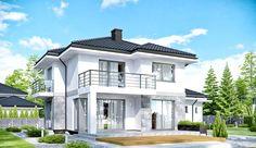 Projekt domu piętrowego APS 266 + 2G o pow. 146,4 m2 z obszernym garażem, z dachem kopertowym, z tarasem, z wykuszem, sprawdź! Modern Architecture House, Modern House Design, Architecture Design, Facade Design, Style At Home, House Plans Mansion, Architectural House Plans, Property Design, Modern Farmhouse Exterior