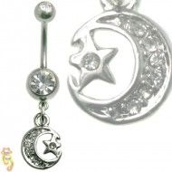 Multi Jewel Moon and Star Dangle Belly Ring Surgical Steel Wholesale Body Jewelry, Dangle Belly Rings, Stars And Moon, Piercing, Dangles, Jewels, Steel, Jewelry, Belly Button Rings