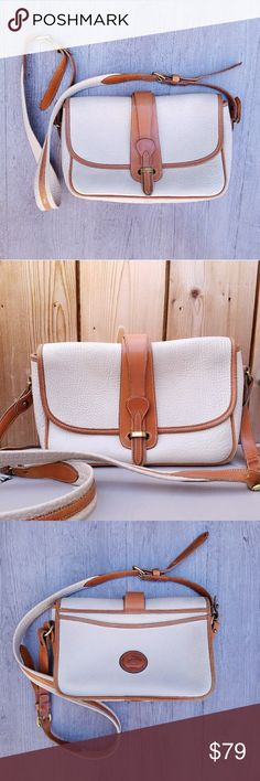 Vintage Dooney & Bourke Equestrian Crossbody Super cute, thick cream/tan adjustable strap. 10 in x 7.5 in x 3.5 in. Some wear as shown Great condition  Feel free to ask me any additional questions! Bundles of 3+ items are 15% off. No trades, or modeling. Happy Poshing! Dooney & Bourke Bags Crossbody Bags