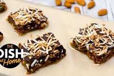 Healthy Dessert Bars With Quinoa, Chocolate & Coconut - The Dr. Oz Show Coconut Quinoa, Toasted Coconut, Quinoa Bars, Puffed Quinoa, Toasted Almonds, Healthy Desserts, Healthy Recipes, Healthy Meals, Free Recipes