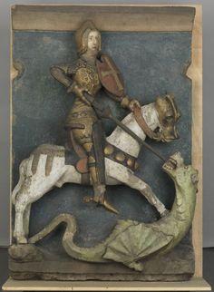 Heiliger Georg zu Pferd (Heiliger Georg (Bergungsgut B106))  Datierung: um 1420 Ort: Franken; Nürnberg Material/Technik: Sandstein, farbig gefasst