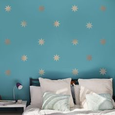"25 Gold Metallic 4"" Eight Point Star Vinyl Wall Decals - Wall Dressed Up - 1"