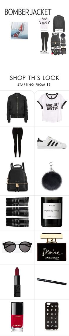 """""""Bomber jack"""" by pernille-sophie ❤ liked on Polyvore featuring Topshop, H&M, Current/Elliott, adidas, Michael Kors, Monki, Byredo, Yves Saint Laurent, Dolce&Gabbana and NARS Cosmetics"""