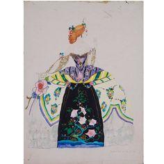 Original Art Deco Period Costume Design by Umberto Brunelleschi, circa 1920s