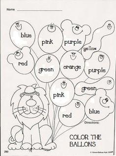 Color Worksheets For Preschool, English Activities For Kids, Learning English For Kids, Preschool Colors, English Worksheets For Kids, English Lessons For Kids, Kids English, Preschool Learning Activities, Color Activities