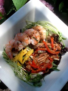 shrimp squid summer salad assorted greens radish black tiger shrimp ...