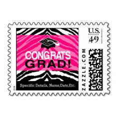 Personalized Pink Black Zebra Graduation Party Postage Stamps #classof2014 #graduation #gradparty @Zazzle Inc.