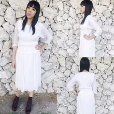 Vintage 70s White Bohemian Pleated Stretchy Cotton Gauze Batwing Dress M SOLD!  https://www.etsy.com/listing/233530027/vintage-70s-white-bohemian-pleated