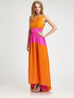 Tibi - Silk Maxi Dress - Saks.com... i LOVE this for a bridesmaid dresses.  wish the back was different.