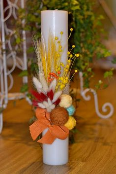 Baptism Candle, Christening, Baby Room, Projects To Try, Bouquet, Easter, Rustic, Traditional, Table Decorations