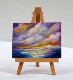 Sea Scape ocean 3x4 original oil painting rainbow by valdasfineart