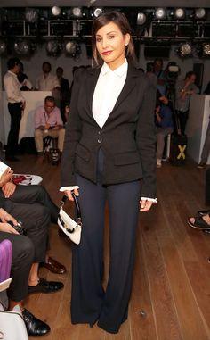 Gina Gershon from Stars at New York Fashion Week Spring 2015 -- Zac Posen Show... Love the pants!