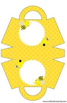 """Cute with a tag: """"You're the Bee's Knees! Bug Crafts, Diy And Crafts, Crafts For Kids, Paper Crafts, Party Kit, Paper Box Template, Printable Box, Winnie, Bee Art"""