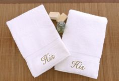 Luxury Hotel and Spa Personalized His and His Hand Towel