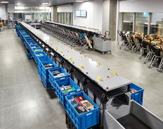 Check out the video on this page showing the path of a book through sorter at DOK1 Library in Aarhus.  Multiple elevators bring all material down to the main sorter.