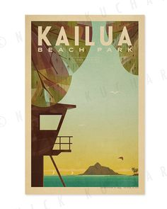 Oahu Beach Parks Series 12x18 Retro Hawaii by EverythingIsJake