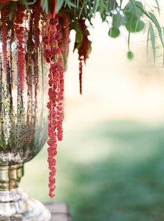 russet red flowers, in metal urn, green foliage, pantone chili oil. deep red, dark red, orangish-red