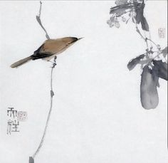 """Untitled"" by Qin Tianzhu (Undated) Japanese Ink Painting, Sumi E Painting, Japanese Watercolor, Japan Painting, Watercolor Bird, Chinese Painting, Chinese Art, Chinese Brush, Organic Art"