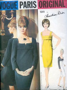 Vintage 60s Sewing Pattern VOGUE Paris ORIGINAL1311 Christian Dior Mod Slender Dress Size 16 B36 Uncut with Sew In Label
