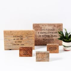 Travel, love, adventure and family quotes on barn wood. Gift Websites, Barn Wood Decor, Into The Woods Quotes, Wood Sizes, Life Is An Adventure, Wall Quotes, Inspirational Gifts, Family Quotes, Friends In Love