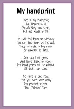 Handprint Poem | Mothers Day poem - My Handprint | KIDSPOT THINGS TO DO: Seasonal occ ...