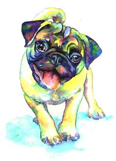 8 x 10 Print - Cute Fawn Pug Dog Pet Portrait fine art watercolor artist