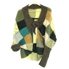 Green Patchwork Jacket with Extra Long Sleeves by munamiu on Etsy, $163.00