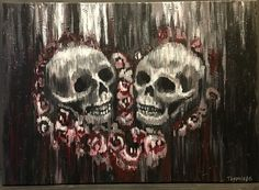 Heart shaped skulls #skulls #painting