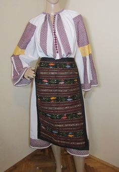 Antique Romanian complete costume from Oltenia size L - XL containing 3 pieces:    1 Gorgeous vintage Romanian 50 - 70 years old hand woven dress. It is hand woven with dark red (burgundy) and yellow cotton thread on white cotton /linen. Good condition with normal traces of the wear. No tear, no stain, no reparation. The lower part of the dress (the skirt) and all the not hand woven parts of the blouse (the back) is made of o different fabric than the blouse which is normal in Romania. Cotton Thread, Cotton Linen, White Cotton, Red Burgundy, Dark Red, Old Hands, Romania, Different Fabrics, Hand Weaving