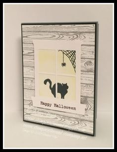 Stampin Up Happy Scenes Halloween Window card. card in the window. hardwood background stamp