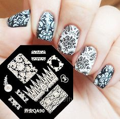Nail Art Schablone Plates Stamping Nagel Tattoo Stamp Stempel Motive Image QA90