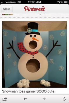 Snow man bean bag toss. I made one and it's so much fun!