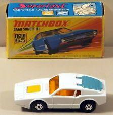 DTE LESNEY MATCHBOX SUPERFAST 65 WHITE SAAB SONETT III NIOB