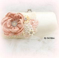 Clutch Bridal Clutch Party Clutch in Blush and Ivory by SolBijou