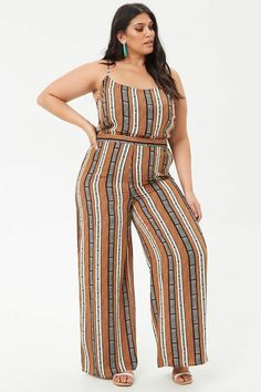 60226674d119 Forever 21 Plus Size Geo Print Jumpsuit. A woven jumpsuit in an allover geo  pattern