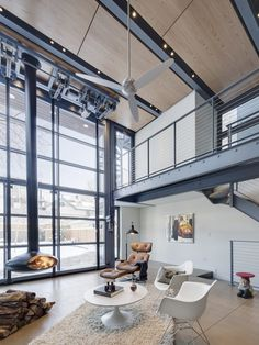 Love this #modern #industrial living room #design