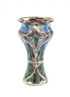 Loetz Silver Overlay and Iridescent Glass Vase