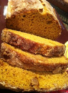 Pumpkin bread - subbed applesauce for oil, vanilla Greek yogurt for eggs, and used 1/3 cup less sugar