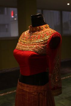 High collar Lehenga Blouse - Embellished with sequins and bead work